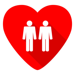 couple red heart valentine flat icon